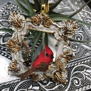 Bird on a perch framed gold crystal necklace